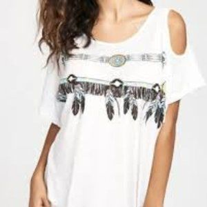 WILDFOX YOUNG & WILD FEATHER TEE, XS